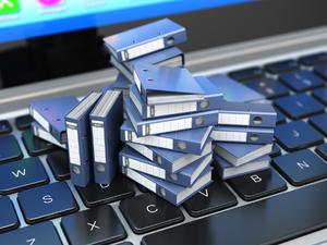 Small Folders on a Laptop Keyboard