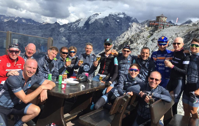 Celebration on top of the Stelvio!