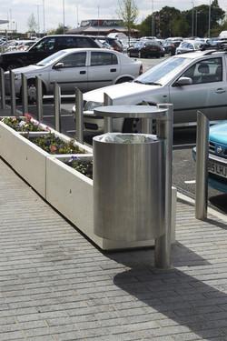 GEO-Litter-Bin-Rhino-RS004-stainless-steel-bollards-and-Artemide-Planters-Mayflower-Retail-Park-Basi