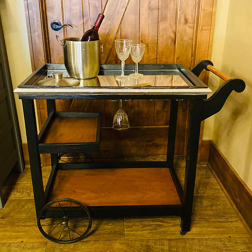 Wine Cart with Glass Top (b103)