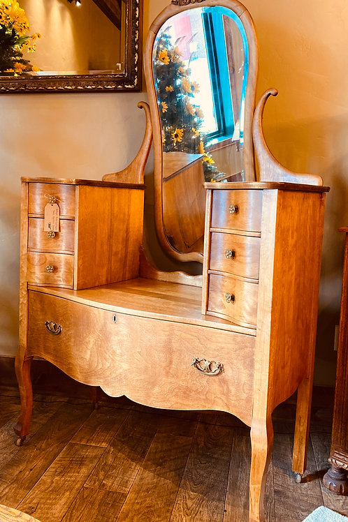 Jean Harlow Birds-Eye Maple Vanity with Mirror (v104)
