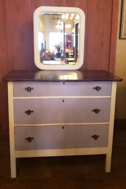 Antique Chest of Drawers done in Purple and Linen White (cd111)
