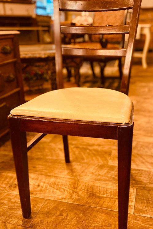 Walnut Chair with White Leather Seat (ch103)