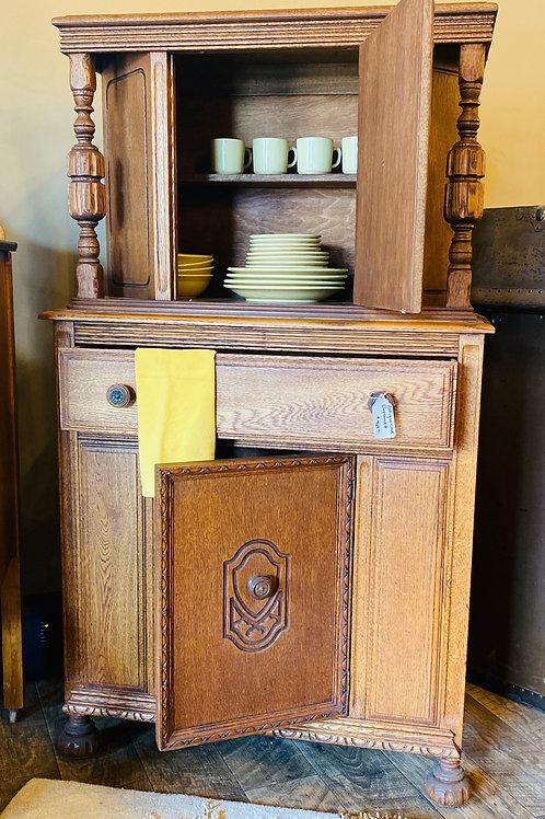 Antique Oak Cupboard, Very Unique (m116)
