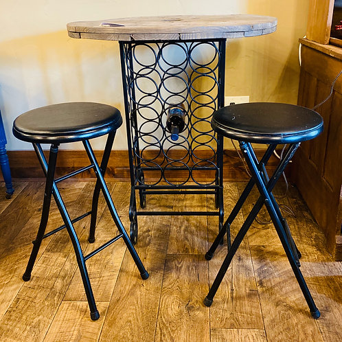 Round Wine Spool Table with 2 Chairs (b101)
