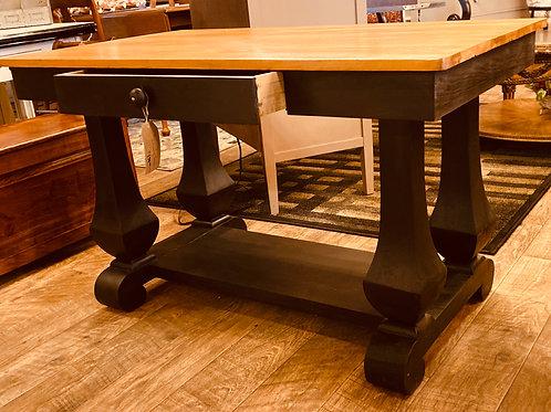 Large Antique Solid Wood Desk (d106)