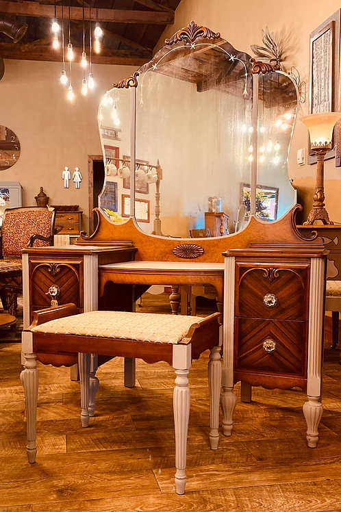 Antique Vanity with Burled Walnut Accents and Bench (v103)