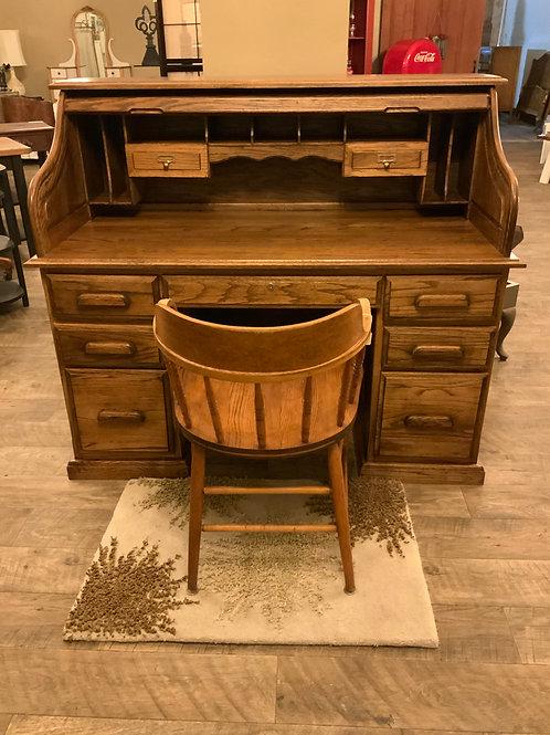 S Curve Oak Roll Top Desk D-114