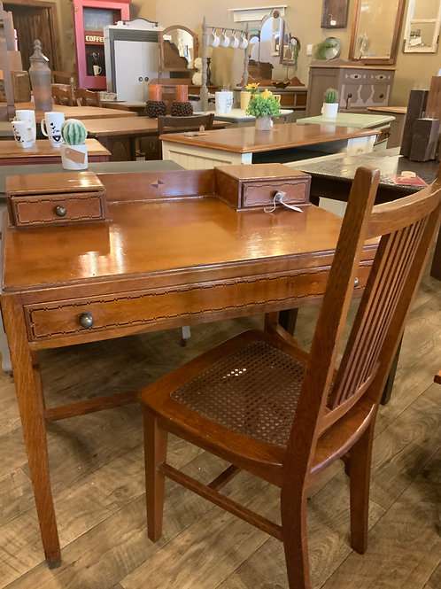 Oak Desk w/ matching Cane Chair (D-110)
