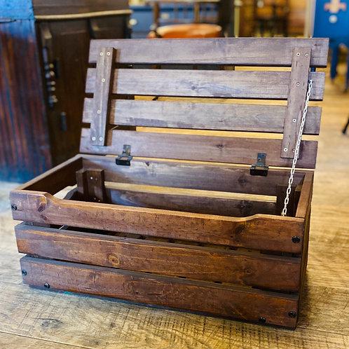 Small Wooden Slated Storage Box (m120)
