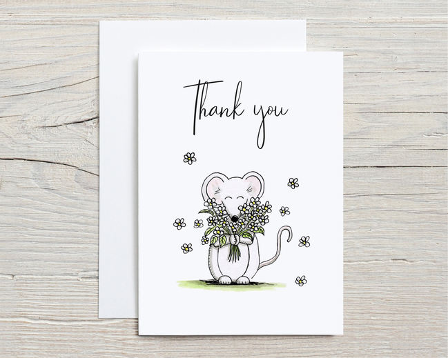 Thank you card with flowers