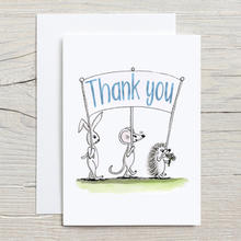 Thank you card with woodland animals