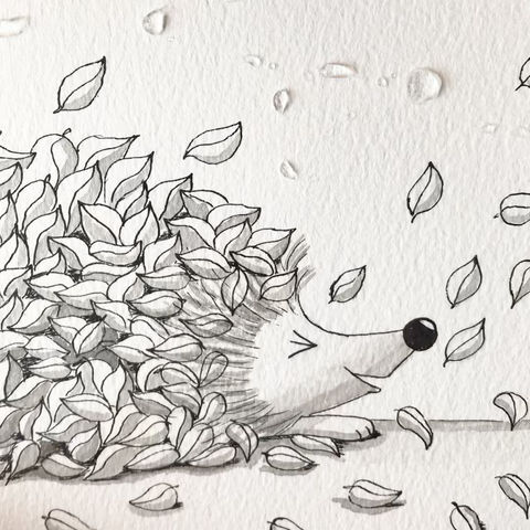 Fast watercolour process of a little hedgehog