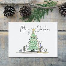 Woodland Animals Christmas Tree Decorating Card