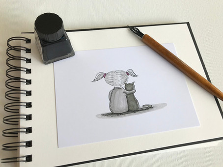 Behind the Scenes of an Artist - Pen and  Ink drawing of a little girl sitting with a cat