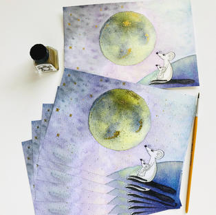 Mice and the Moon Art Print