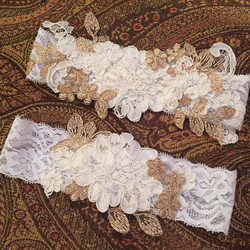 Ivory and Gold Garter