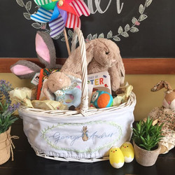 Hand Embroidered Easter Basket Wrap