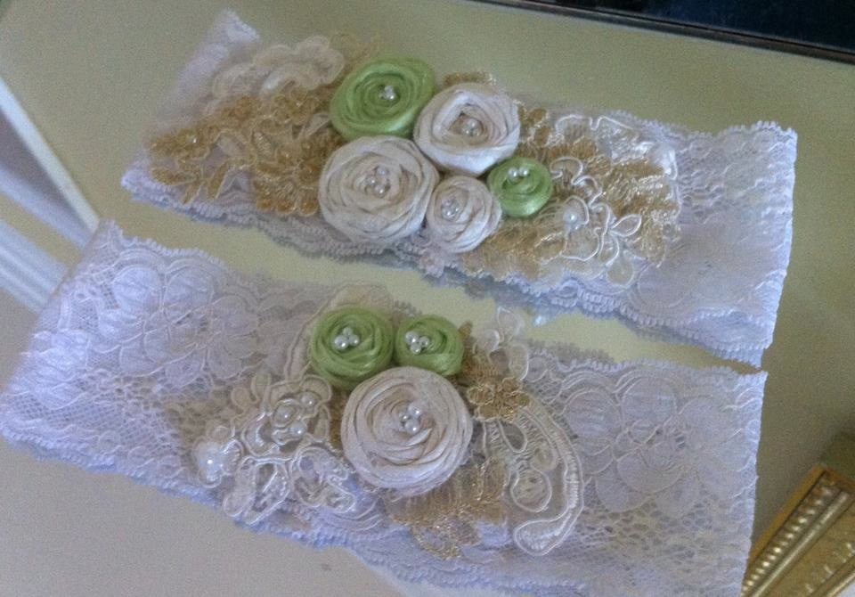 Ivory and Green Flowered Garter Set