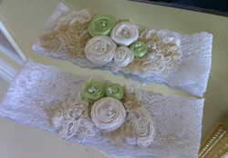 Ivory and Green Flowered Garter Set