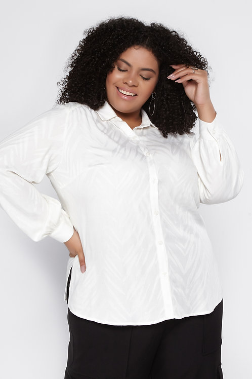 Camisa Plus Size Viscose Jaquard Animal Print
