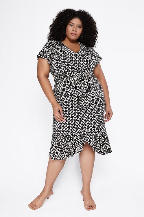 Vestido Plus Size Curto Malha Estampada Com Cinto