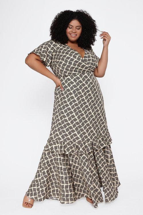 Vestido Plus Size Longo Estampada Detalhe Babado
