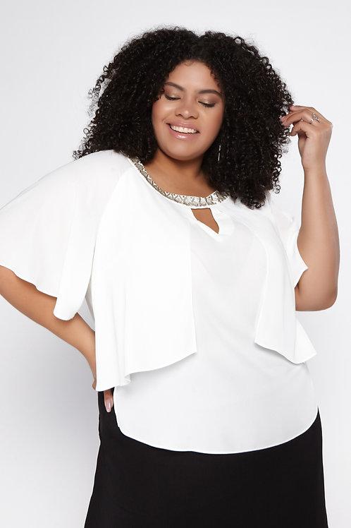 Blusa Plus Size Creponada Sobreposição