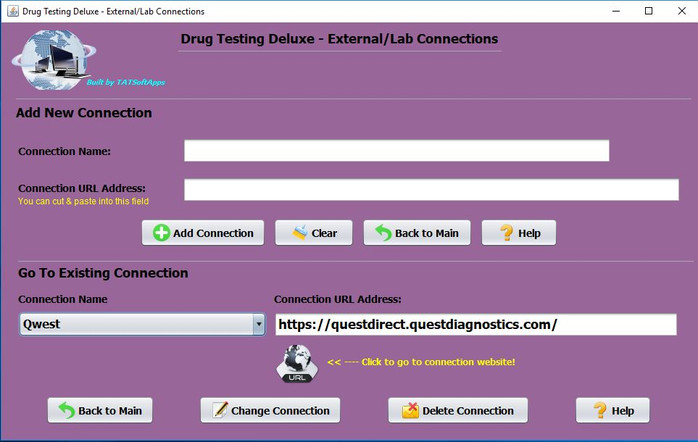 Drug Testing Software Program External Connections