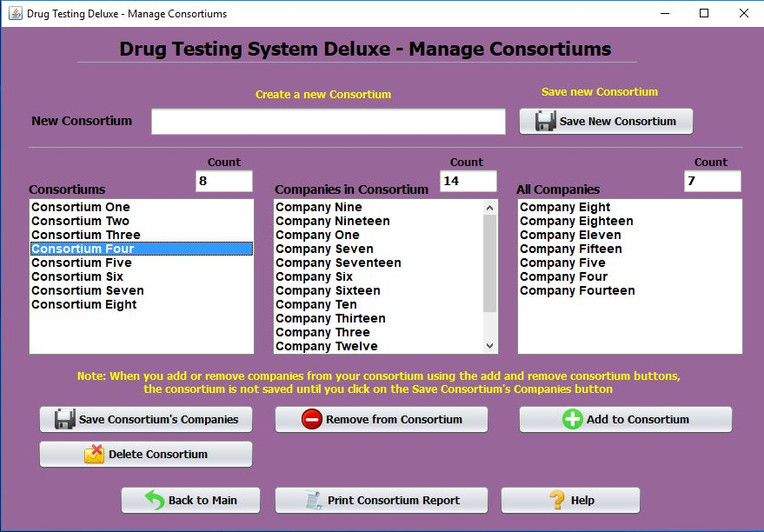 Drug Testing Software Consrtium Window