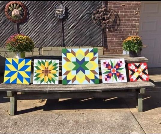 (left to right) Annie's Choice, Crossroads, Simple Dutch, Rose Carpenter Wheel, Thistle Rose, & Bread Basket