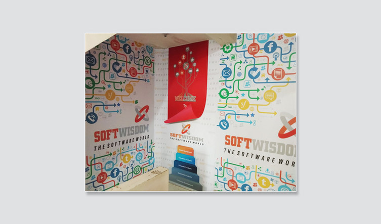 Company Building Stairs Wall Branding