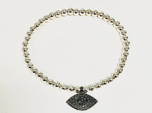 Sterling silver beads with pave diamond evil eye charm