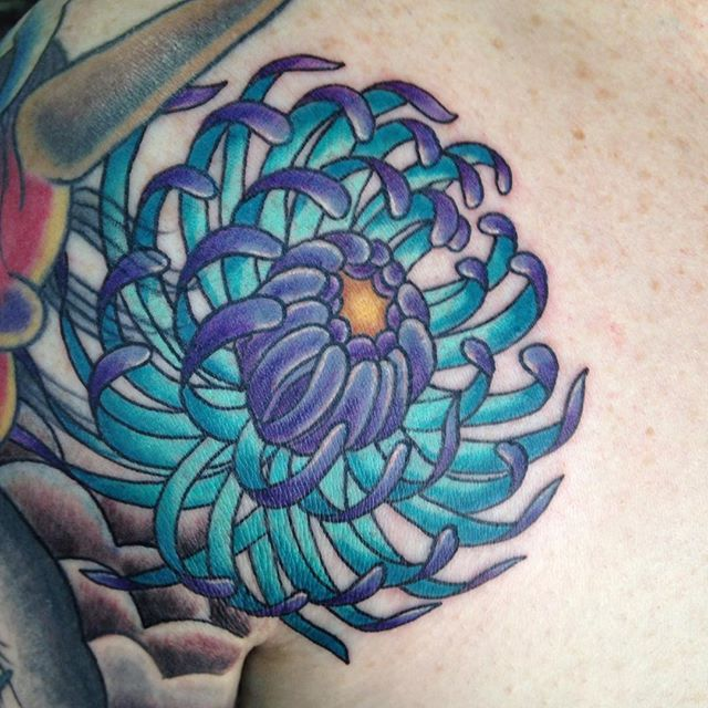 Chrysanthemum I did today! #eternalink #stencilstuff #chrysantheumtattoo #flowertattoo #cooltattoos