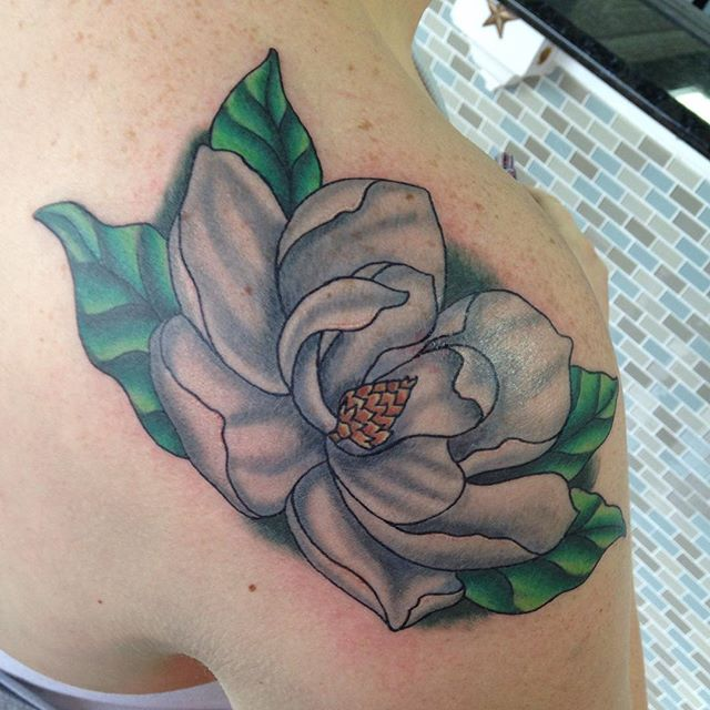Had fun with this magnolia flower! #eternalink #stencilstuff #magnoliatattoo #colortattoo #flowertat
