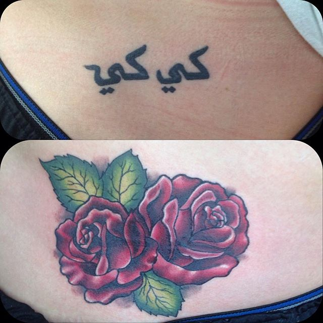 Cover I did today! #eternalink #stencilstuff #coverup #coveruptattoo #rosetattoo #tattoo #radtattoos
