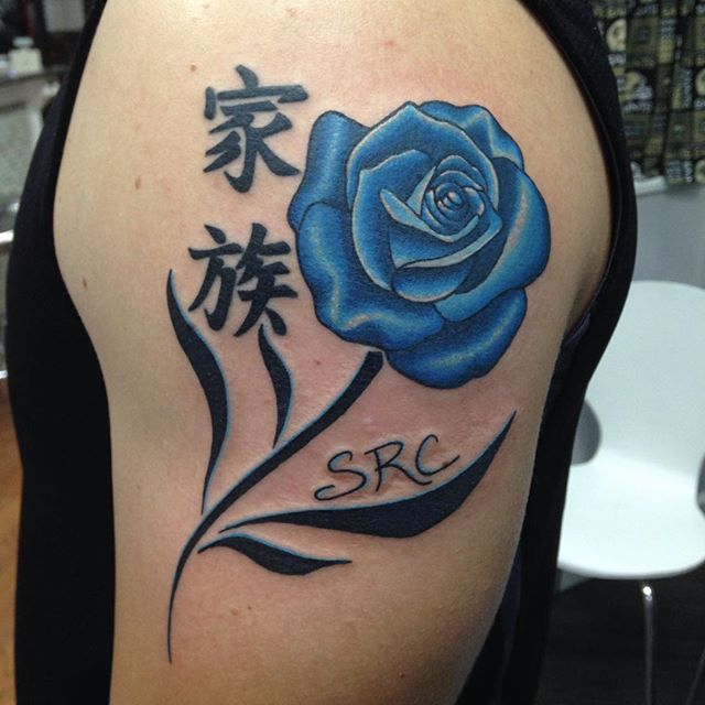 Added the rose and stem and fixed up kanji! _eternalink _stencilstuff _mainstreetstudiotattoo _glove