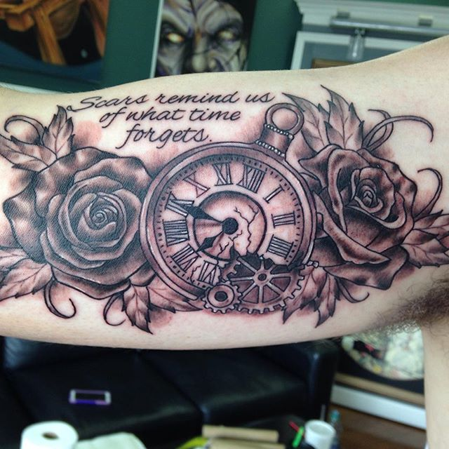 Fun Black and Grey piece! #eternalink #stencilstuff #pocketwatchtattoo #rosetattoo #blackandgreytatt