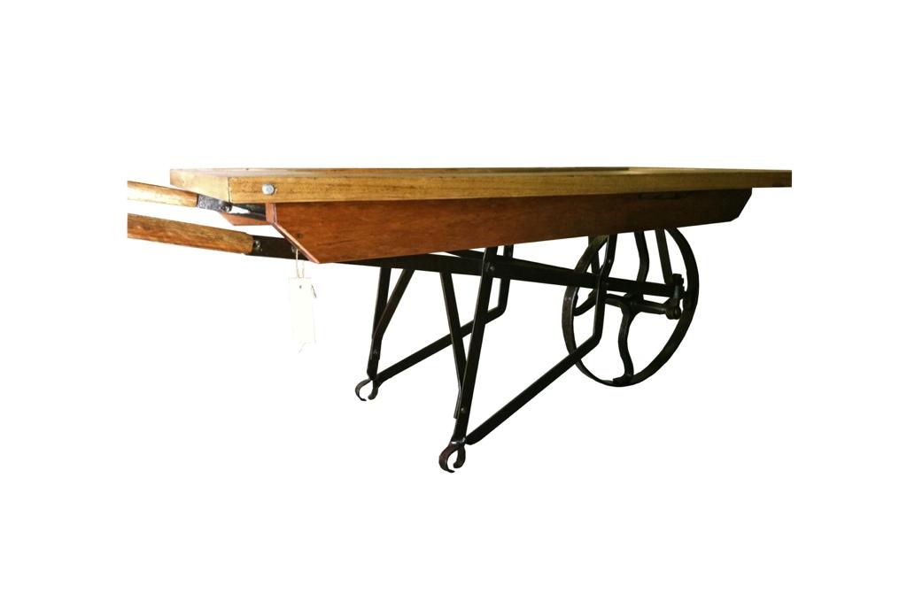 Wheel barrow table