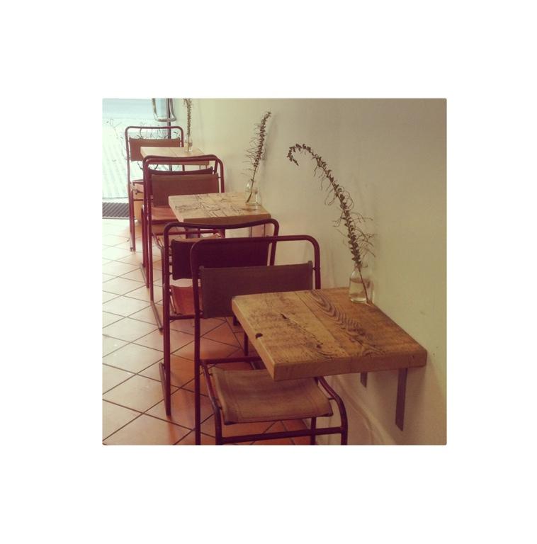 Wall hung café tables