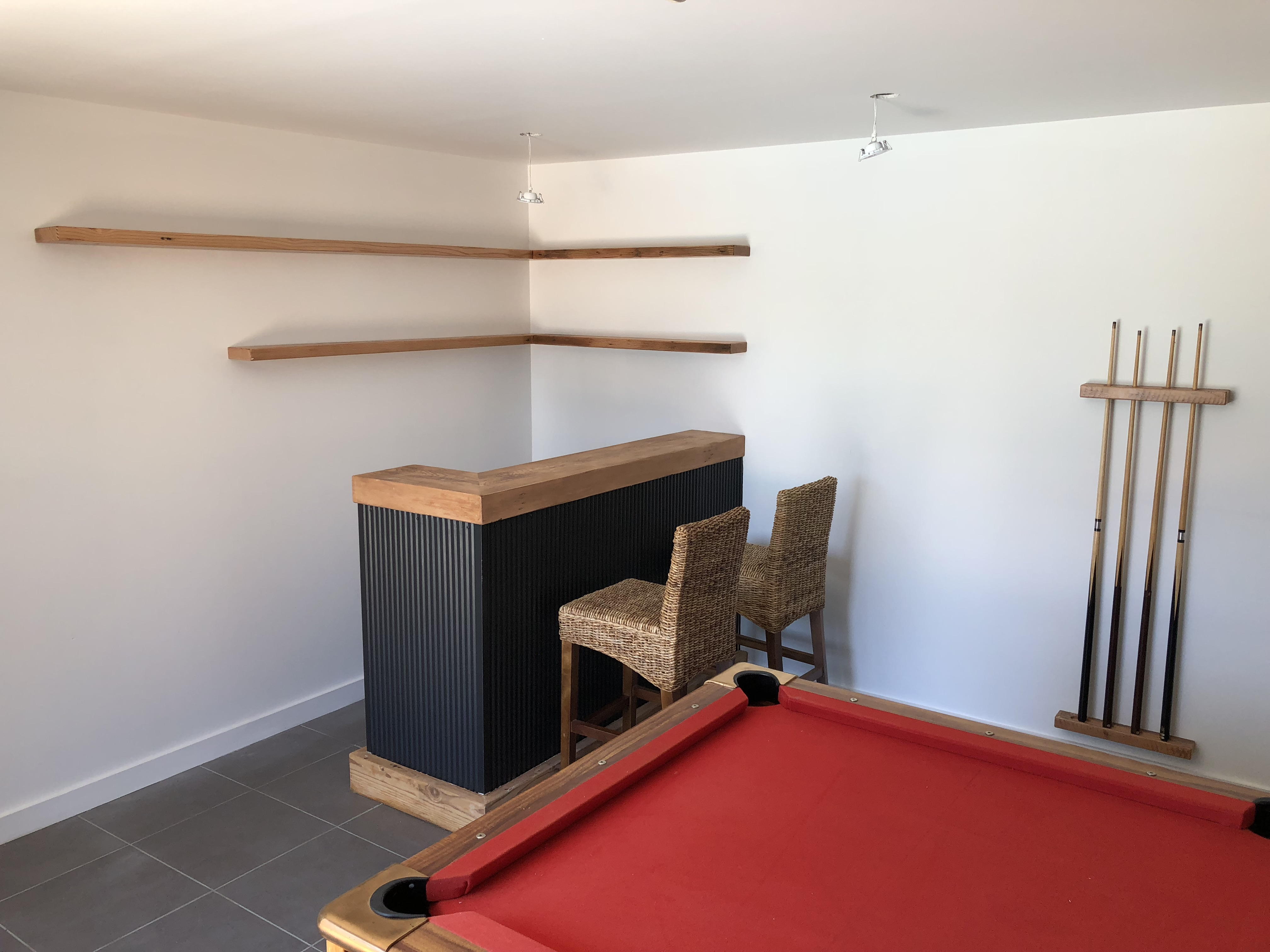 Floating Shelves and Pool Cue Holder