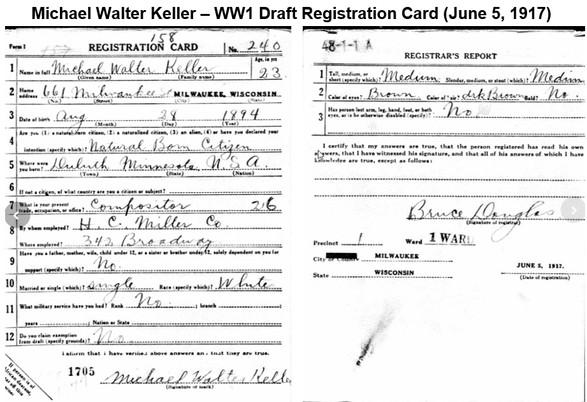 Michael Keller WW1 Draft Card