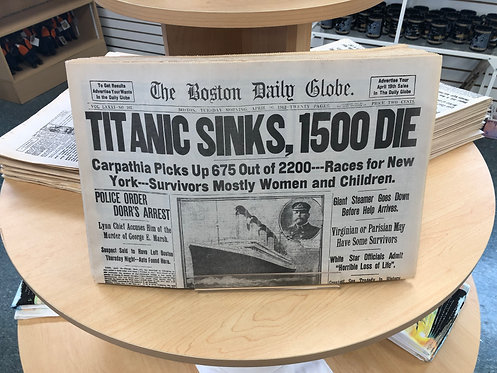 RMS Titanic Replica Newspaper