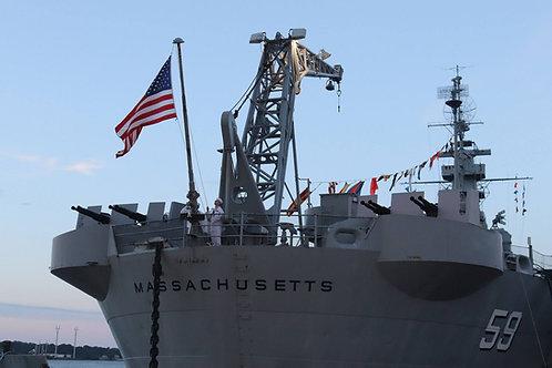 5' x 8' US Flag flown on USS Massachusetts