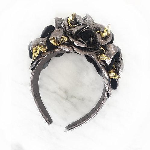 Metallic Silver Rose Turban