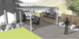 esquisse, jardin, paysagiste, annecy, haute savoie, terrasse bois, pergola