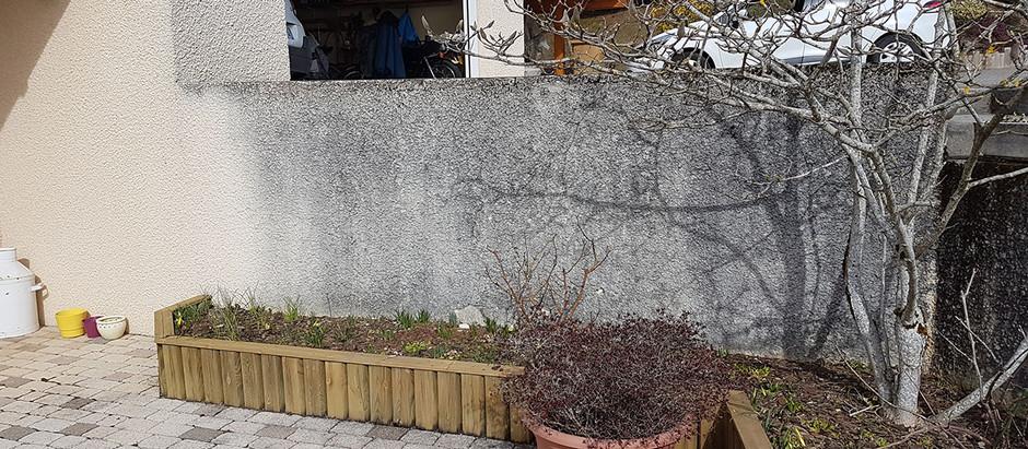 Mur en plaquette de pierre et couvertine granit - Lovagny