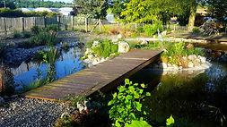 bassin, jardin, ponton bois, jardin, haute savoie, annecy