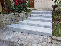 escalier jardin, escalier exterieur, gres cerame, paysagiste annecy, rumilly, haute savoie