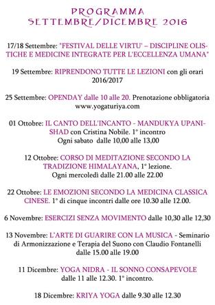 Programma attività Settembre-Dicembre 2016